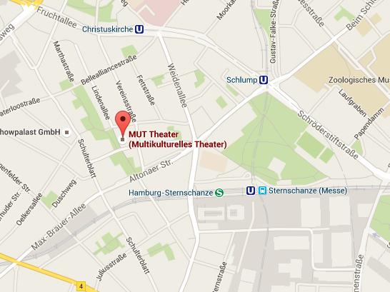 GoogleMaps Karte MUT! Theater, Raummiete